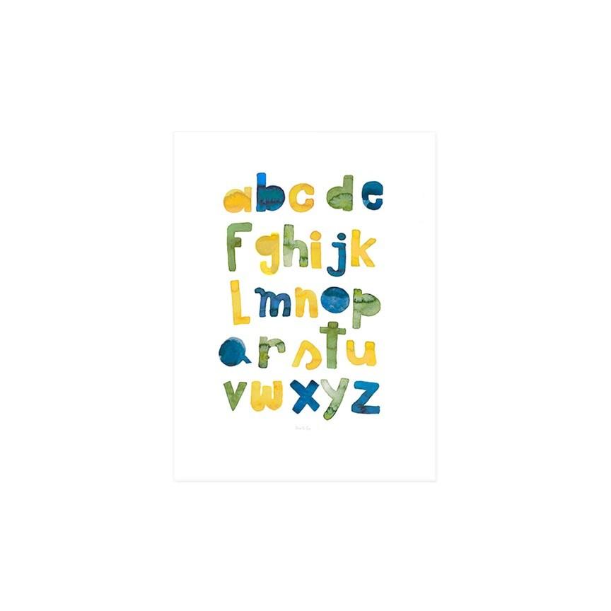 Gravura ABC aquarela Henri - amarelo e verde