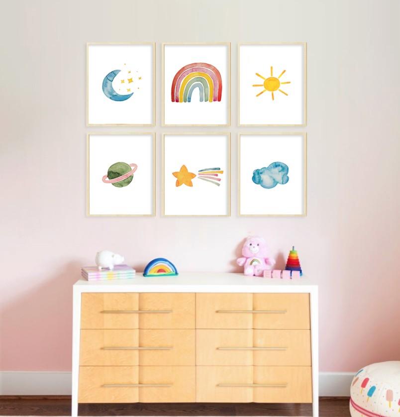 Gravura arco-íris aquarela Zoe