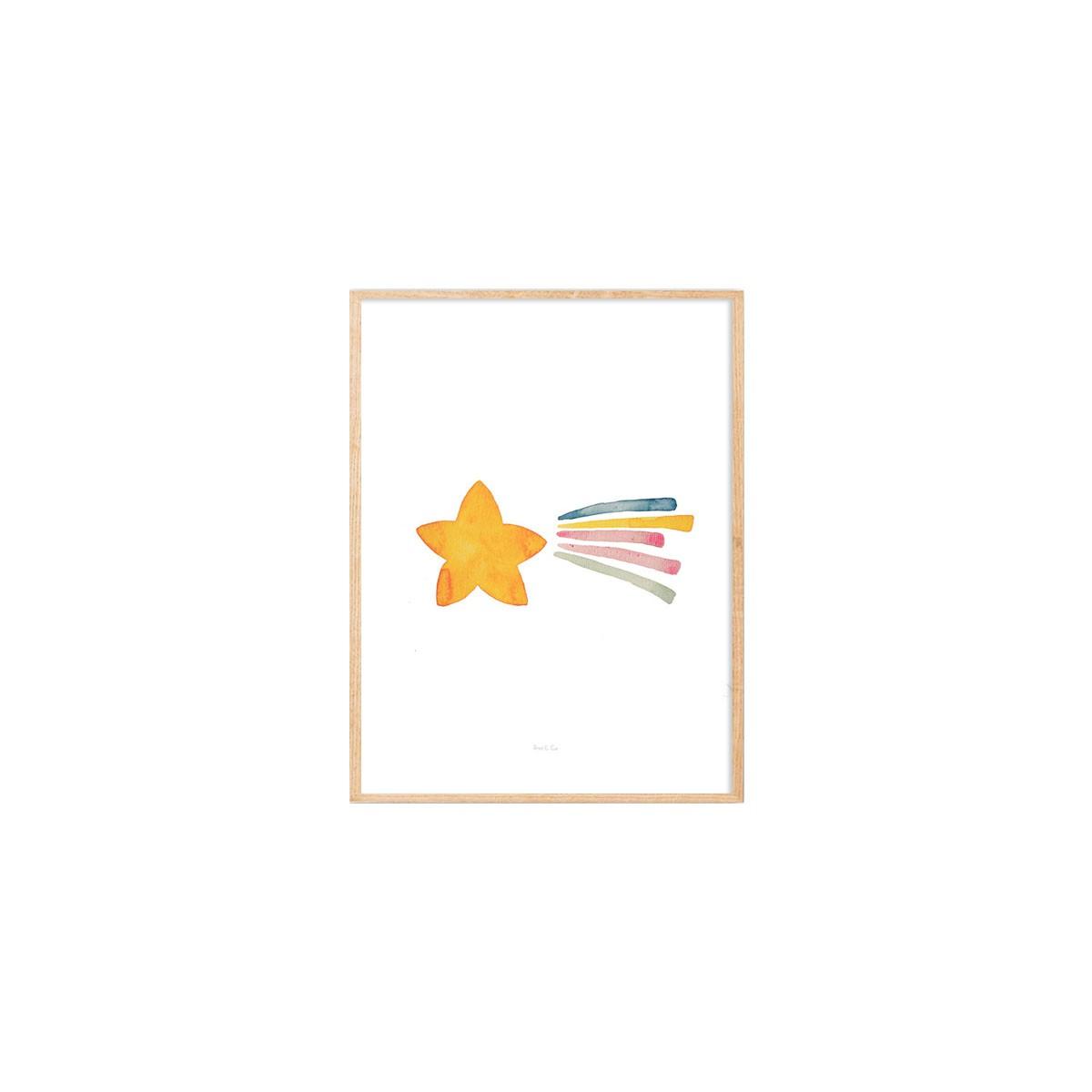 Gravura estrela cadente aquarela Eva