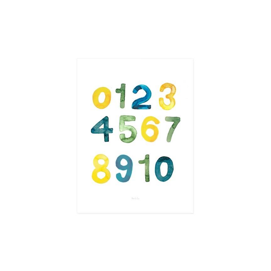 Gravura números aquarela Jade - amarelo e verde