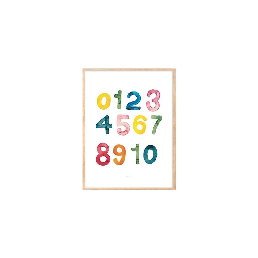 Gravura números aquarela Jade - colorido