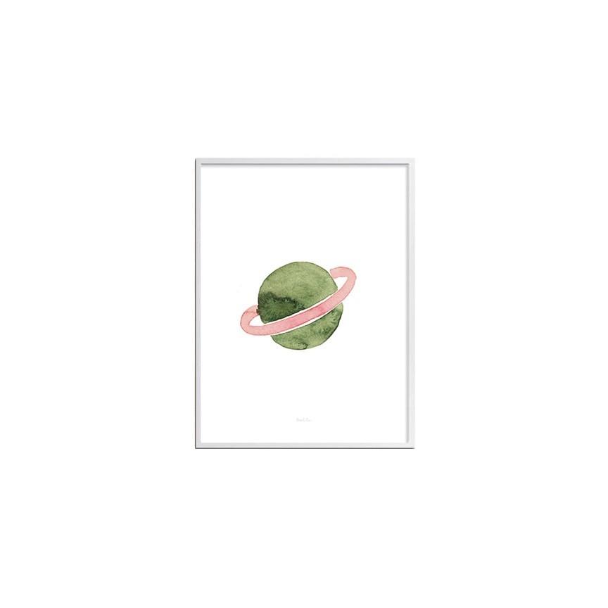 Gravura planeta aquarela Mia