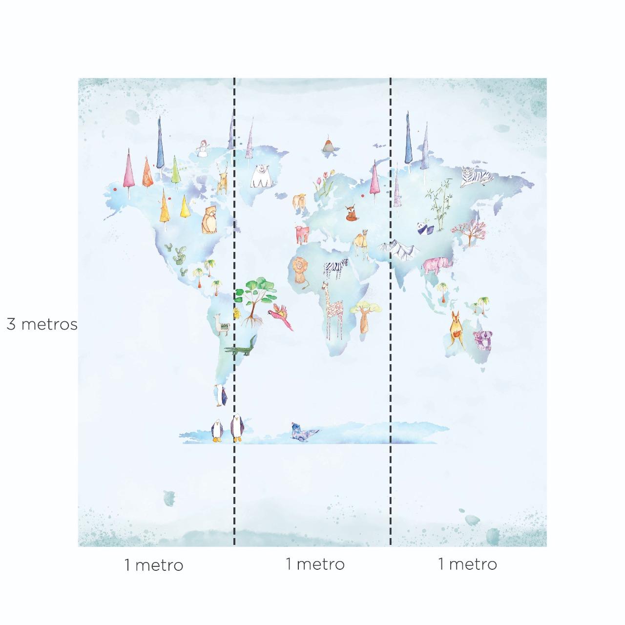 Painel Mapa Mundi Aquarela Amelie