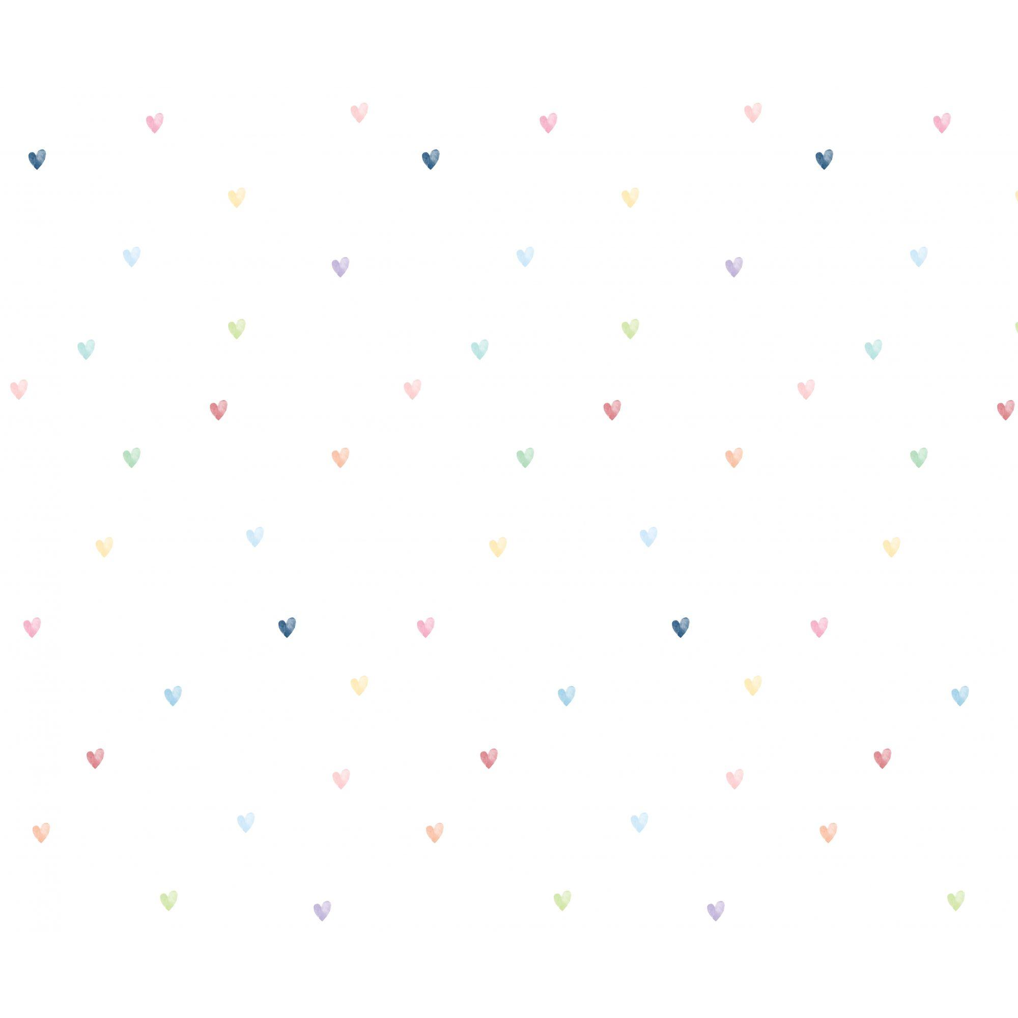 Papel de Parede corações Clau - Colorido  - Ideias de Mamãe