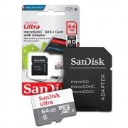 Cartão de Memória Micro Sd Sandisk Ultra Classe 10 Original 64 Gb