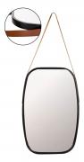 Espelho Oval Preto C/ Alça Couro Pra Pendurar