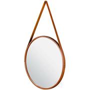 Espelho Redondo Marrom 45cm C/ Alça Couro Pra Pendurar