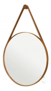 Espelho Redondo Marrom 60cm C/ Alça Couro Pra Pendurar
