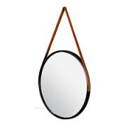 Espelho Redondo Preto 33cm C/ Alça Couro Pra Pendurar