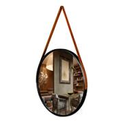 Espelho Redondo Preto 45cm C/ Alça Couro Pra Pendurar