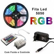 Fita Led 5m Rgb 16 Cores 5050 Prova D'água + Fonte + Controle