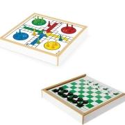 Jogo Tabuleiro 2 em 1 Ludo e Dama - Caixa em Madeira