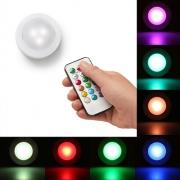 Kit 3 Luminárias Lâmpada Led RGB Colorido Spot Sem Fio Controle Remoto
