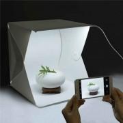 Mini Estúdio Box Fotográfico com Led Fundo Branco/Preto 23x23x23cm Dobrável