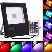 Refletor Holofote Led RGB Prova D'água 30w Bivolt Controle