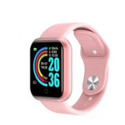 Relógio Smartwatch Rosa Digital D20s Android iOS Usb Carregamento