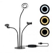 Ring Light Led de Mesa com Suporte para Celular e Microfone