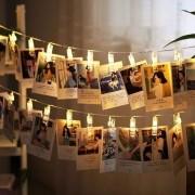 Varal Cordão de Luz Led para Fotos 10 Prendedores
