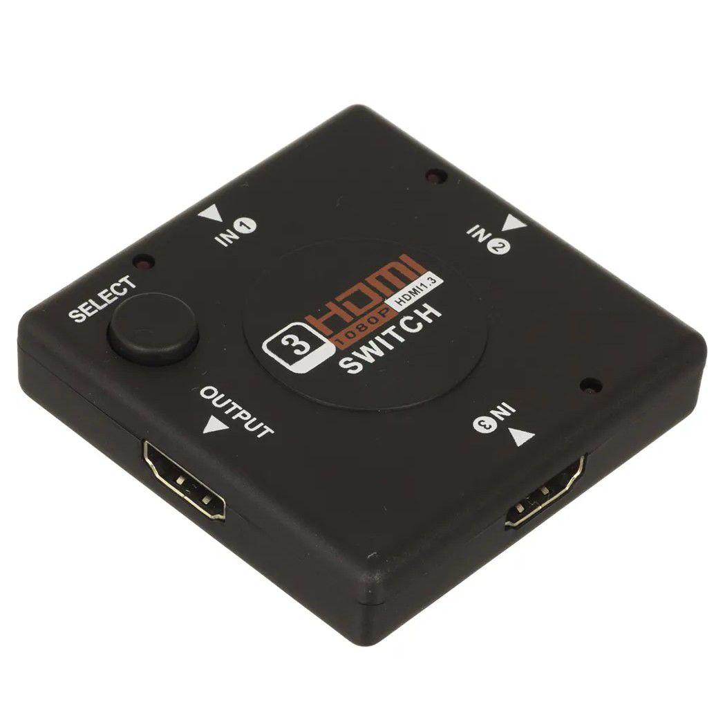 Hub Hdmi 3 Portas 3x1 Ultra Hd 4k Divisor Portas Hdmi