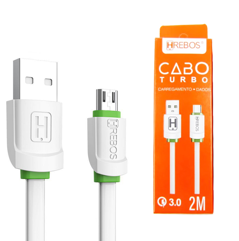 Cabo De Dados Turbo 3.0 Micro USB V8 2M Hrebos