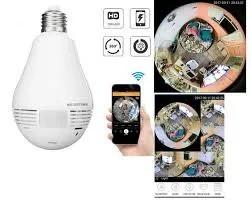 Câmera Lâmpada Segurança IP Wi-Fi Vr Cam Espiã Panorâmica