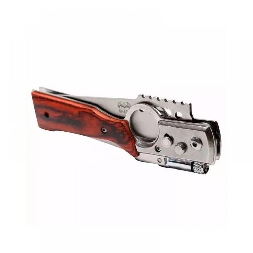 Canivete Cabo Madeira Arma Carabina com Lanterna Pescaria Camping - ANL