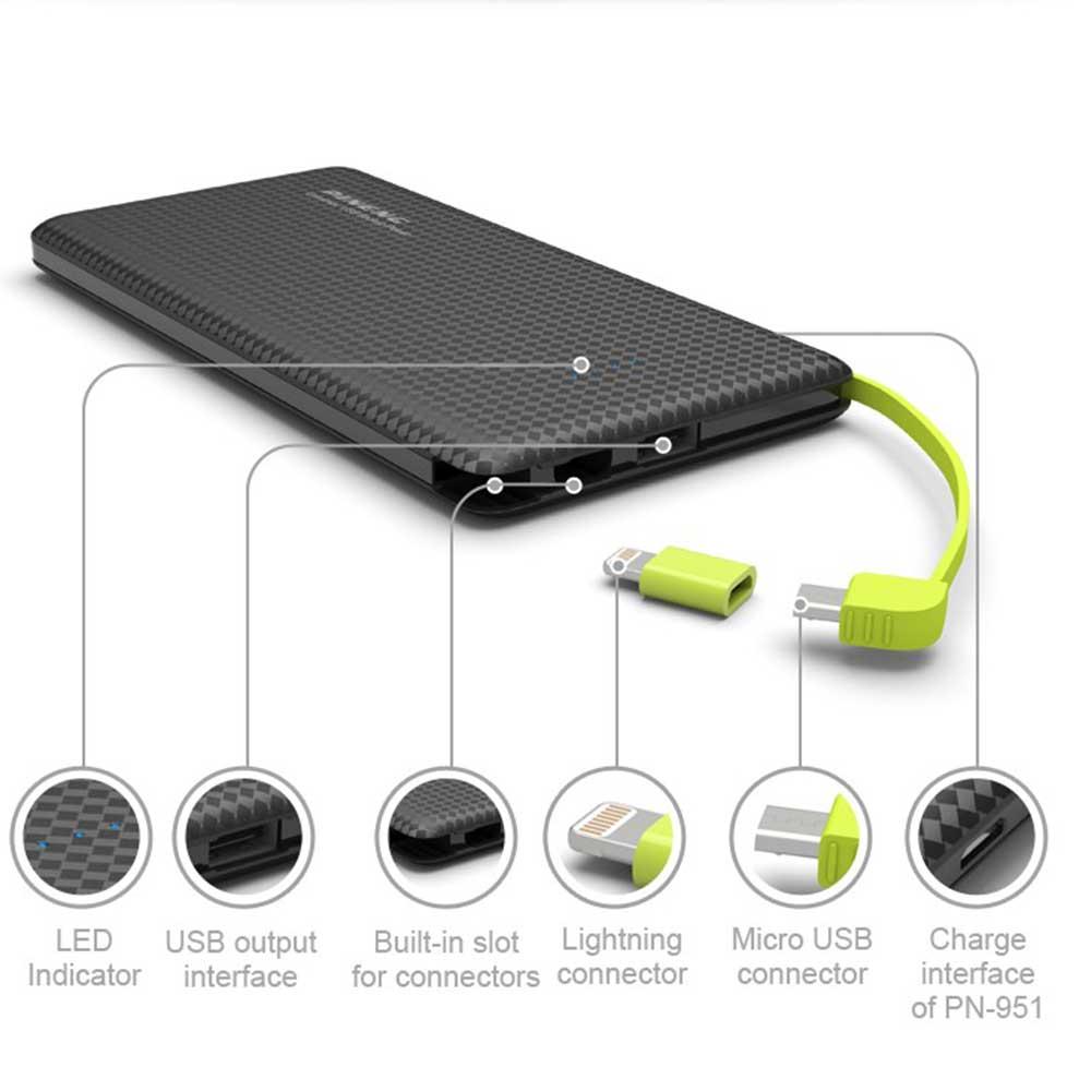 Carregador Bateria Portátil Power Bank Slim 10.000 mAh - 4 Cargas