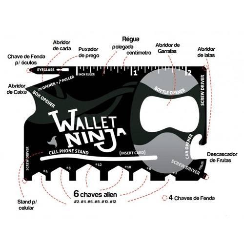 Cartão Multi Função Ferramentas Carteira 18x1 Ninja Wallet