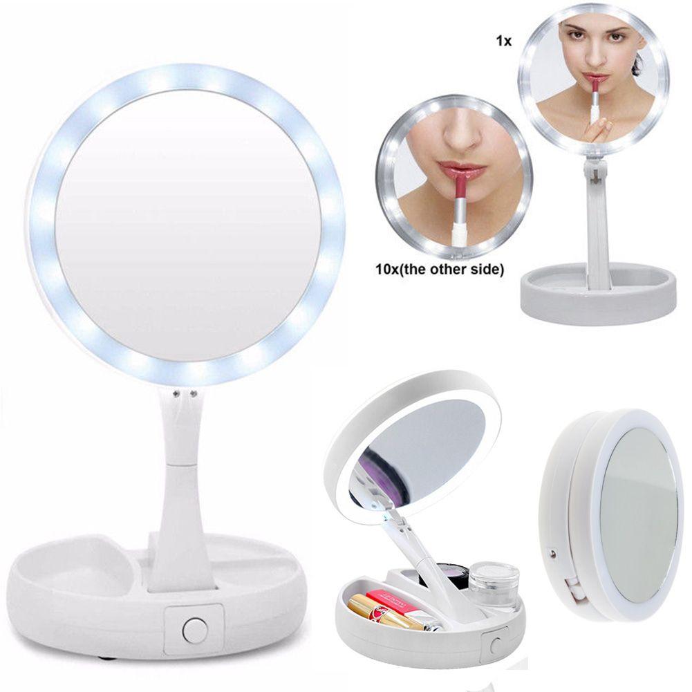 Espelho Led Portátil Duplo Dobrável Aumento 10x Maquiagem Luz