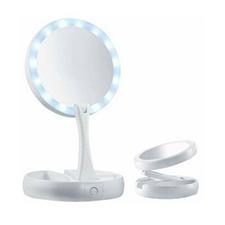 Espelho Portátil Duplo Dobrável Aumento 10x com Led