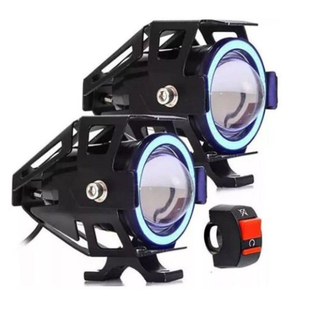 Farol Milha Moto Angel Eye U7 Led Auxiliar 30w Azul Luatek LK-U7 1pç
