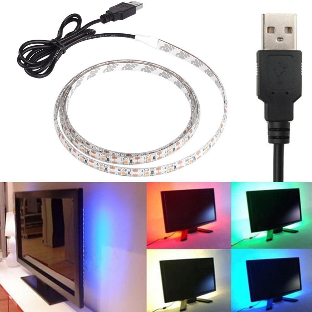 Fita Led 5050 Rgb Usb 3m Tv e Pc com Controle na Fita