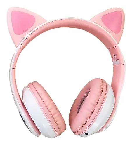 Fone Gatinho Sem Fio Com Led Bluetooth Rosa LEF-1019