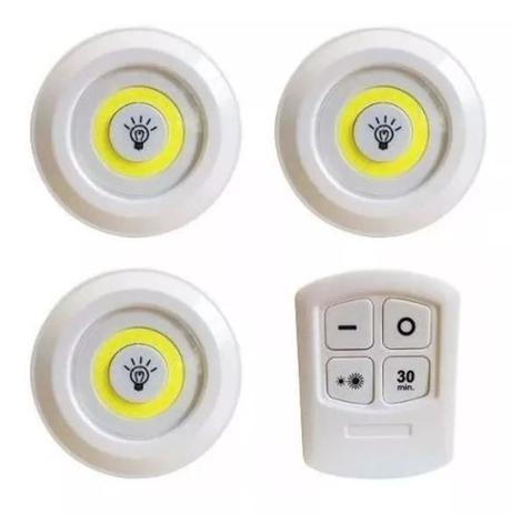 Kit 3 Luminárias Lâmpada Led Branco Spot Sem Fio Controle Remoto
