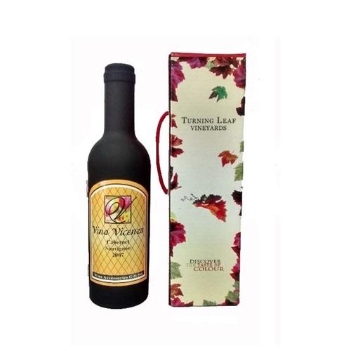 Kit Vinho Abridor Saca Rolha Colar Corta Pingo Case Garrafa Turning Leaf Vineyards