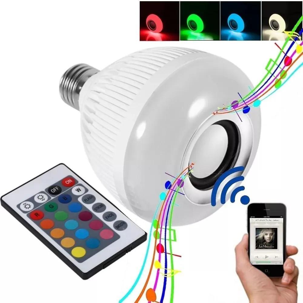 Lâmpada Luz Led Rgb Bluetooth Música Caixa Som + Controle