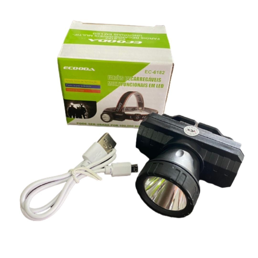 Lanterna Farol Led de Cabeça Recarregável Multifuncional EC-6182