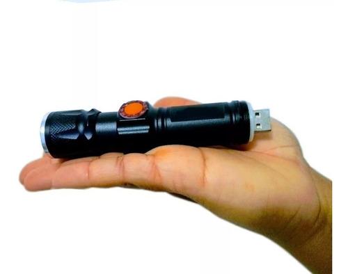 Mini Lanterna Tática Led Recarregável Usb Portátil