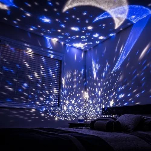 Luminária Cósmica Projetor Estrela 360º Abajur Star Master Rosa