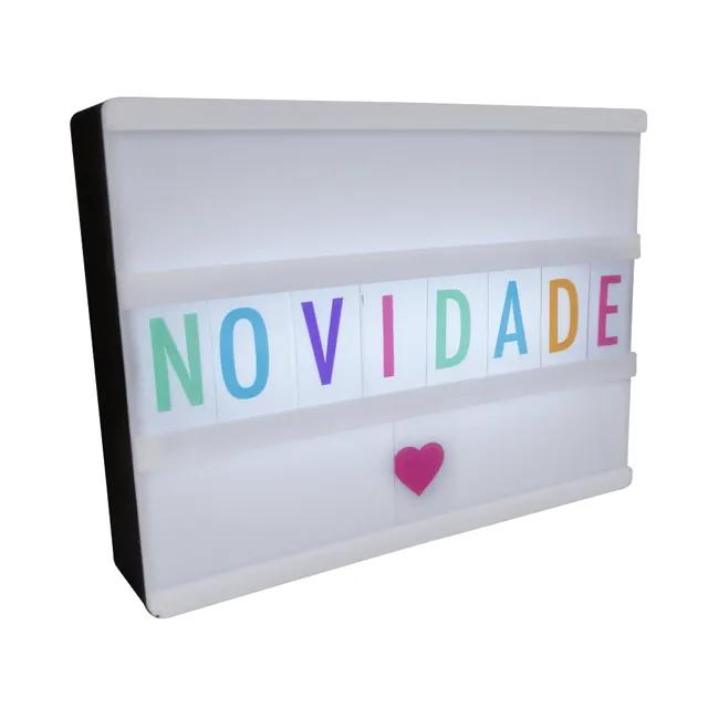 Luminária Letreiro Quadro Led Light Box A4 Colorido 96 Letras