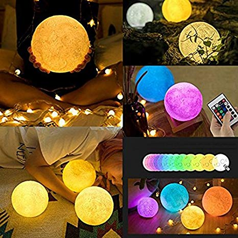 Luminária Luz Abajur Lua 3D 15 Cm - 5 Cores - Touch