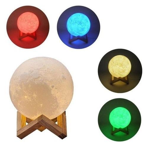 Luminária Lua Cheia 3d Led Abajur 11cm Colorida com Suporte