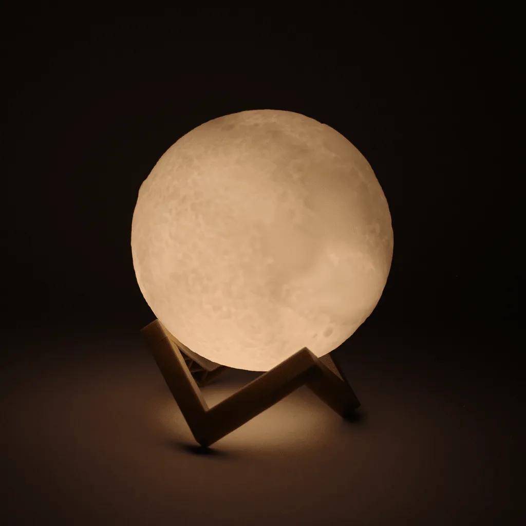 Luminária Lua Cheia 3d Led Abajur 11cm Branca com Suporte