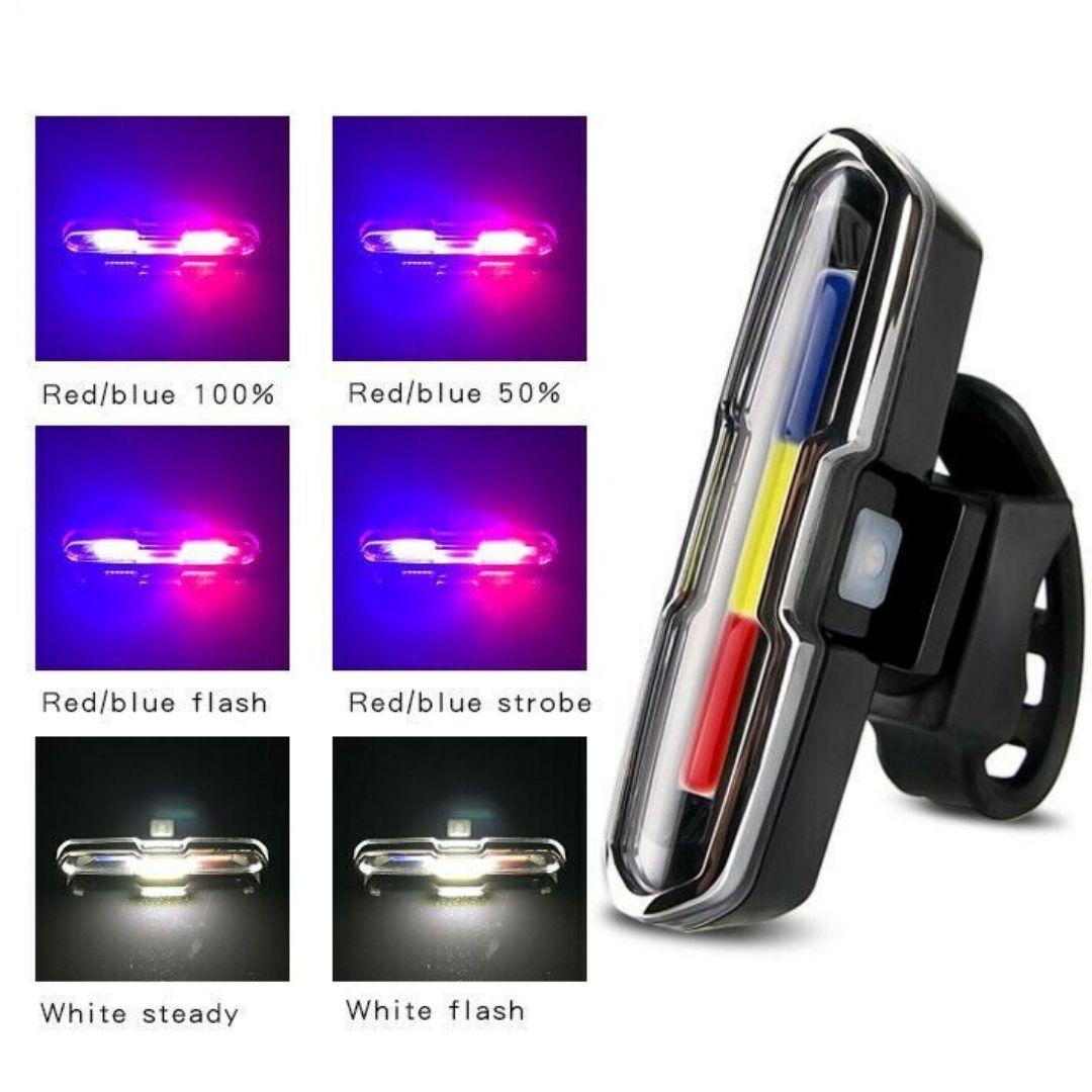 Luz de Segurança Sinalizador Recarregável Bike Bicicleta Led Rgb ZH-1808