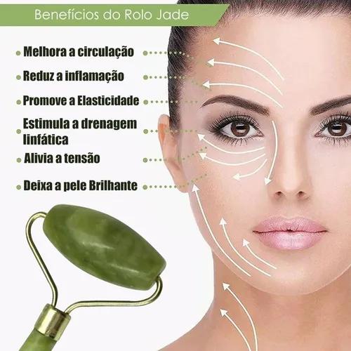 Massageador Facial de Rolo Pedra Jade