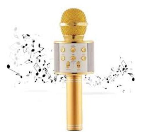 Microfone Sem Fio Bluetooth Karaokê Usb P2 Alto Falante Embutido Rosê Gold