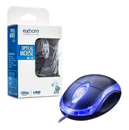 Mouse Óptico Com Fio Usb 1000 dpi Led Azul Exbom Ms-10