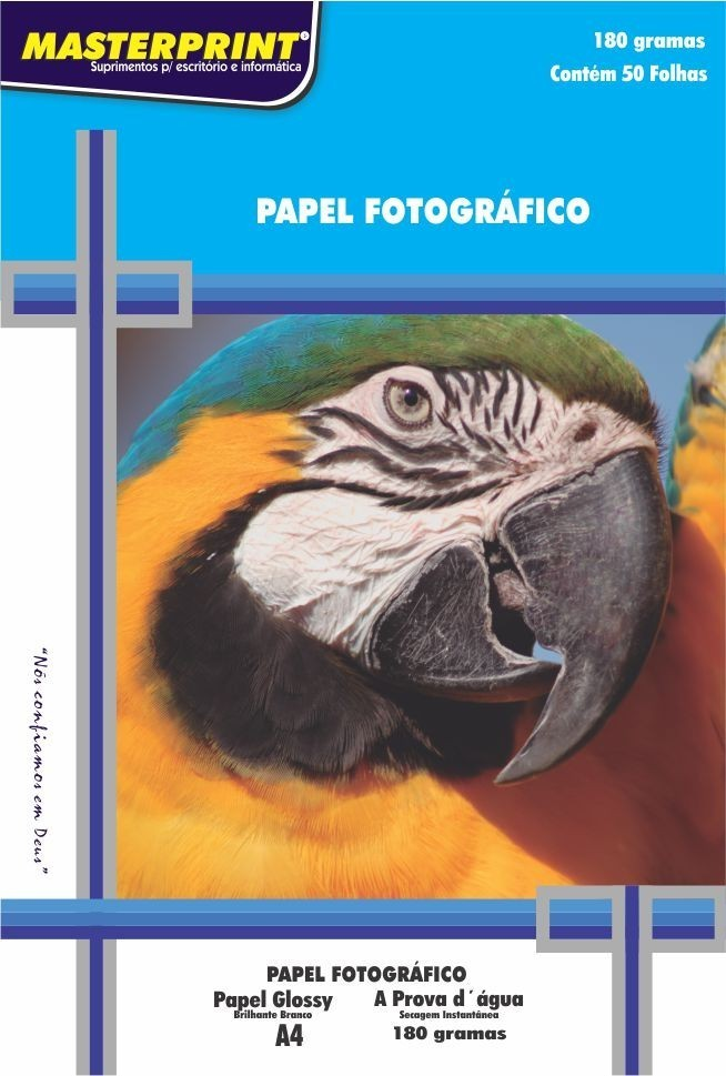Papel Fotográfico 180 grs Glossy Brilho Masterprint  A4 50 Fls