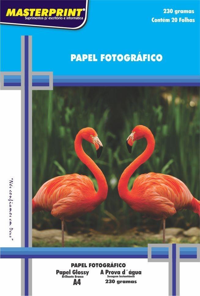 Papel Fotográfico 230 grs Glossy Brilho Masterprint  A4 20 Fls
