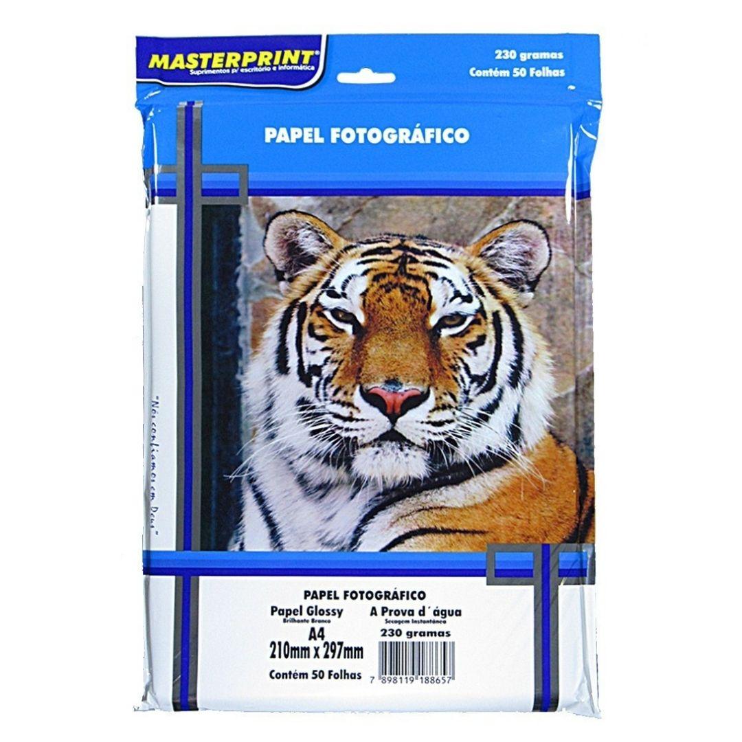 Papel Fotográfico 230 grs Glossy Brilho Masterprint  A4 50 Fls